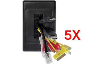 5x Wall Plate Wallplate Brush Outlet Cover Management Cable Tidy Organiser Black