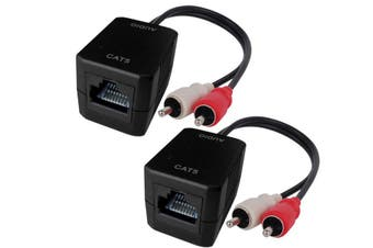 Stereo RCA Audio Balun Extender Over Cat5 Cat6 RJ45 Up To 75m Bi-directional