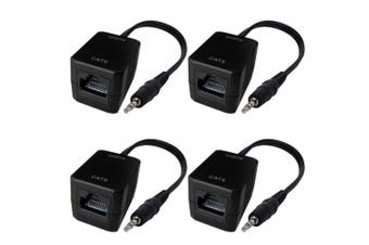 2PK Male AUX 3.5mm Plug Stereo Audio Over RJ45 Cable CAT5 Extender/up to 75m