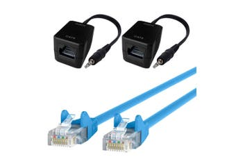 Male AUX 3.5mm Plug Stereo Audio Over Single RJ45 CAT5 Extender w/10m Cable