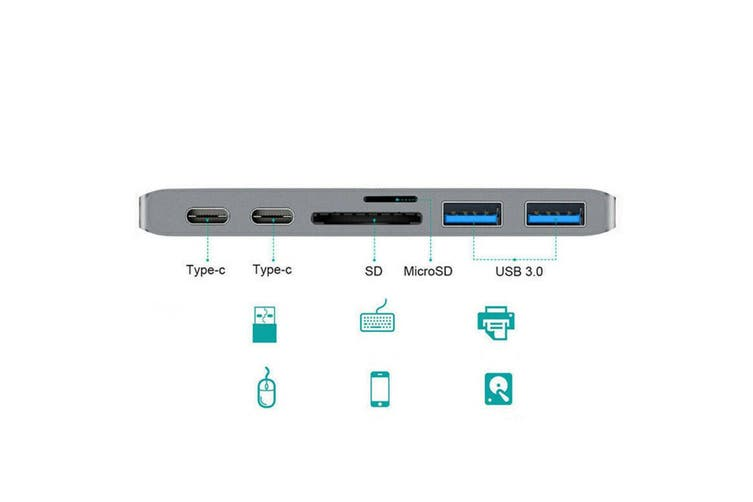 7 in 1 USB-C to HD 4K SD/Micro Card Reader Hub USB 3.0 Adapter for Mac Book Pro