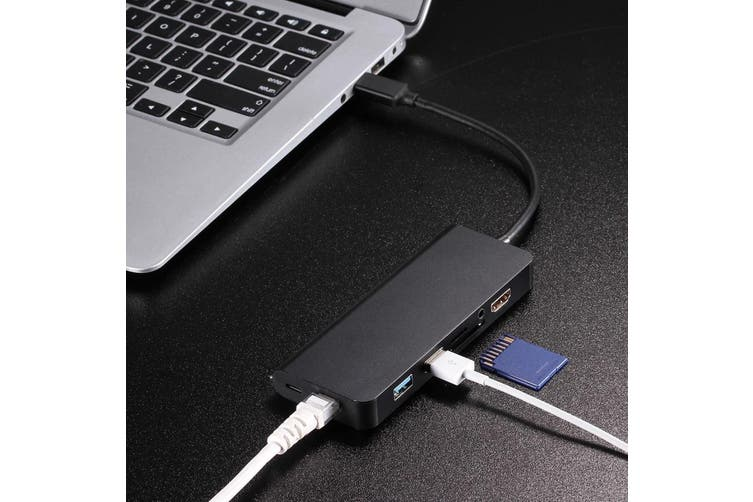 8 in 1 Type-C Male-Female USB-C/USB-A/AUX/SD/TF Card Reader/HDMI Port Adapter GR