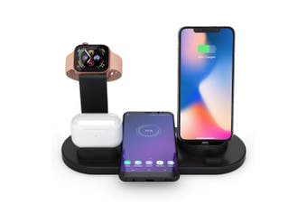 Wireless Charger Station/Micro/USB-C for iPhone/Apple Watch/Air Pods/Samsung BLK