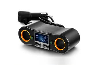 12V/24V Car Cigarette Lighter 2 Socket Spitter w/ Dual USB 3.5A Fast Charging