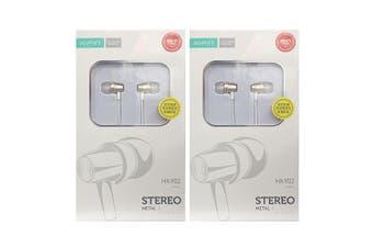 2x Xipin 3.5mm In-Ear Metal Earphones 1.2m Headset Headphones w/Microphone Gold