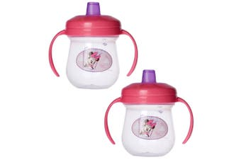 2PK The First Years Soft Spout Trainer Drinking Sippy Cup Baby 9m+ Mickey Pink