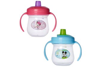 2pc The First Years Soft Spout Trainer Drinking Sippy Cup Baby 9m+ Minnie/Mickey