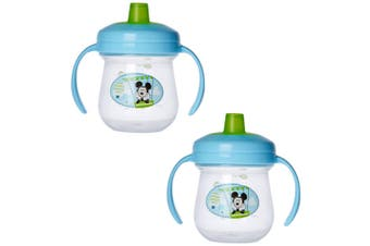 2PK The First Years Soft Spout Trainer Drinking Sippy Cup Baby 9m+ Mickey Blue