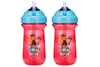 2pc The First Years Flip Top Straw Cup Baby/Toddler 18m+ Water Bottle Paw Patrol