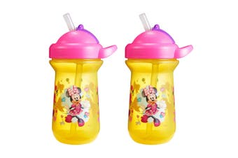 2pc The First Years Flip Top Straw Cup Baby/Toddler 18m+ Water Bottle Minnie YL