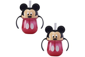 2pc The First Years Straw Trainer Drinking 207ml Cup Baby/Toddler 9m+ Mickey