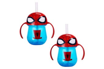 2pc The First Years Straw Trainer Drinking 207ml Cup Baby/Toddler 9m+ Spiderman