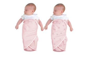 2x The First Years Baby/Infant/Newborn Cotton Wrap Swaddler Swaddle Blanket Pink