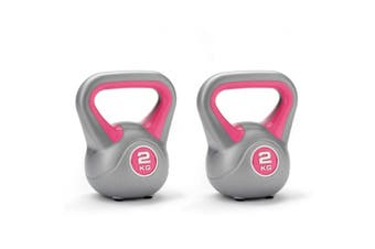 2pc York 2kg Vinyl  Kettlebell Weight Lifting Fitness Gym Training Exercise Pink