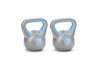 2pc York 3kg Vinyl Kettlebell Weight Lifting Fitness Gym Training Exercise Blue