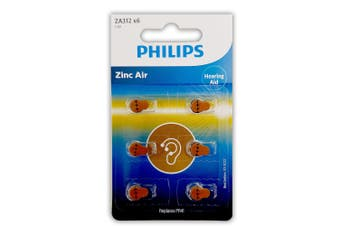 6pc Philips ZA312B6A/97 Zinc Air Button Cell 1.4V 160mAh Hearing Aid Battery