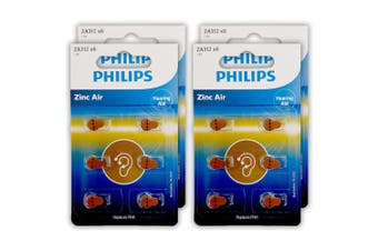 24pc Philips ZA312B6A/97 Zinc Air Button Cell 1.4V 160mAh Hearing Aid Battery