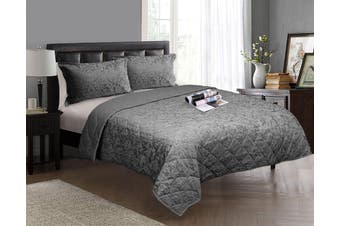 Jacquard Egyptian Cotton Floral Comforter Set Queen-King Charcoal