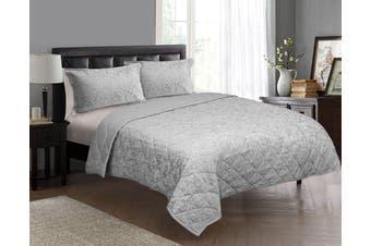 Jacquard Egyptian Cotton Floral Comforter Set Queen-King Silver
