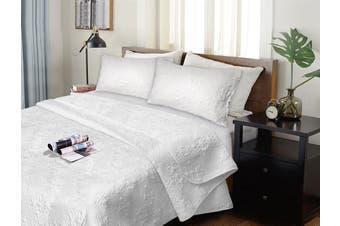 3 Pieces Ultrasonic (Pinsonic) Comforter Set Queen - King White