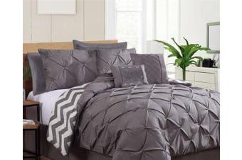 Seven-Piece Pinch Pleat Comforter Set Charcoal