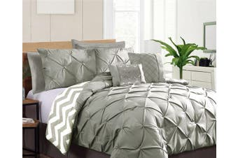 Seven-Piece Pinch Pleat Comforter Set Grey