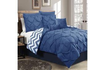 Ramesses Seven-Piece Pinch Pleat Comforter Set (KING Classic Blue)