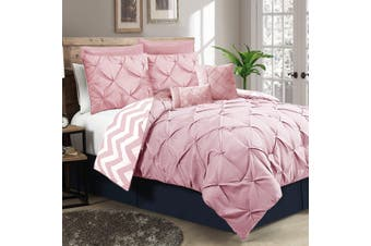 Ramesses Seven-Piece Pinch Pleat Comforter Set (KING Rose Pink)