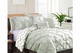 Ramesses Seven-Piece Pinch Pleat Comforter Set (KING SILVER)