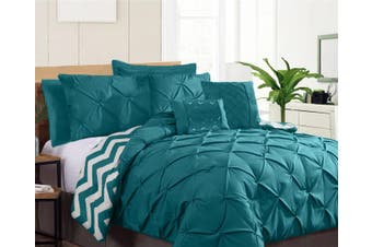 Ramesses Seven-Piece Pinch Pleat Comforter Set (KING TEAL)