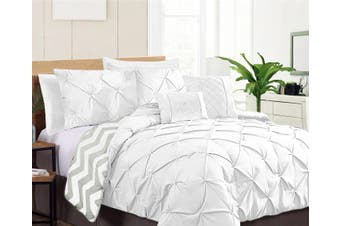 Ramesses Seven-Piece Pinch Pleat Comforter Set (KING WHITE)
