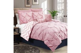 Ramesses Seven-Piece Pinch Pleat Comforter Set (QUEEN Rose Pink)