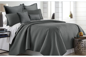 Ramesses 7 Pieces Premium Hotel Comforter Sets King Charcoal