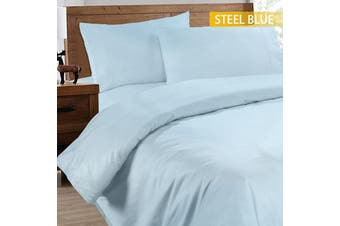 Ramesses 2000TC Cooling Bamboo Quilt Cover Set-Double-Steel Blue