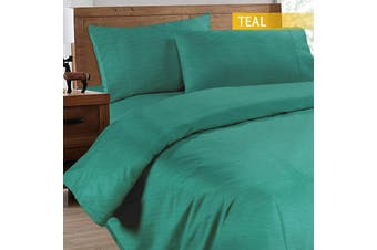 Ramesses 2000TC Cooling Bamboo Quilt Cover Set-Single-Teal