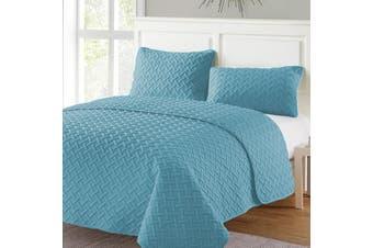 3 Piece Ramesses Embossed Comforter Set-Blue