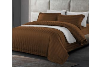 1200 TC Hotel Egyptian Sateen Stripe Quilt Cover Queen Chocolate