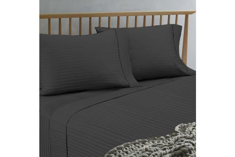 Ramesses 1500TC Hotel Collection Spring Refresh Jacquard Egyptian Cotton Sateen Sheet Set  Mega Queen Charcoal