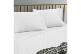 Ramesses 1500TC Hotel Collection Spring Refresh Jacquard Egyptian Cotton Sateen Sheet Set Mega Queen White