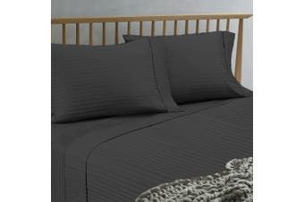Ramesses 1500TC Spring Refresh Stripe Jacquard Damask Finished Egyptian Cotton Sateen Sheet Set  Queen Charcoal