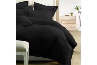 Honeycomb Quilt Cover Set 225Thread Count-Black