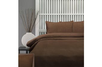 Honeycomb Quilt Cover Set 225Thread Count Queen-Chocolate