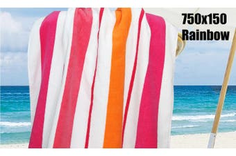 100% Cotton Jacquard Beach Towel 75X150Cm Bright Stripe