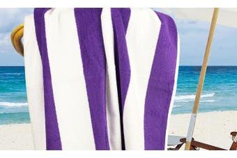 100% Cotton Jacquard Beach Towel 75X150Cm Purple Stripe