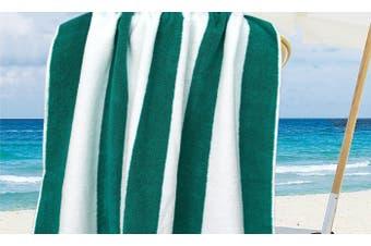 100% Cotton Jacquard Beach Towel 75X150Cm Teal Stripe