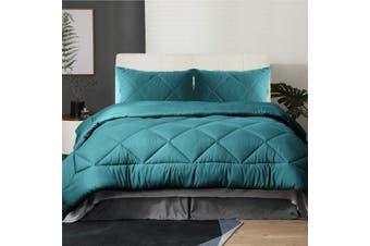 Ramesses 3Piece Mink Flannel Comforter set Super King Bright Teal