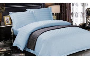 1200 TC Hotel Egyptian Sateen Stripe Sheet Set Double Ice Blue