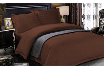 1200 TC Hotel Egyptian Sateen Stripe Sheet Set Queen Chocolate