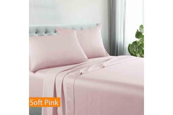 Kingtex Egyptian Cotton Sateen Luxury Sheet Set Double - Soft Pink