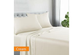 Kingtex Egyptian Cotton Sateen Luxury Sheet Set Queen - Cream